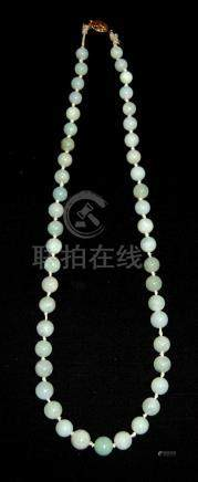 A Strand of Jadeite Beads Composed of Forty Six Graduated Ja