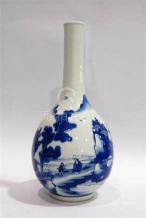 An Underglaze Sapphire Blue Bottle Vase, Double Rings to the