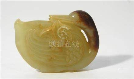 A Jade Carving of a Mandarin Duck, the Neck Extended & Turne