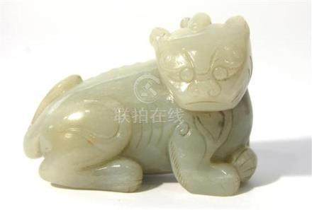 A Gray- White Jade Carving of a Bixie Cub,
