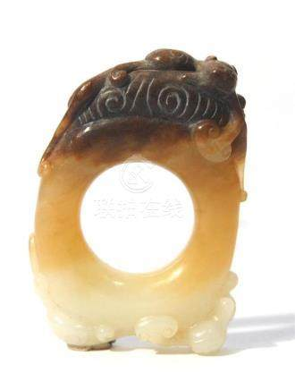 A Rare & Finely Carved Jade Pendant with Two Mythical Animal
