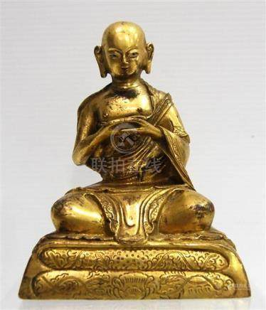 A Sino-Tibetan Monk, Gilt Bronze Alloy , Wearing a Simple Ro