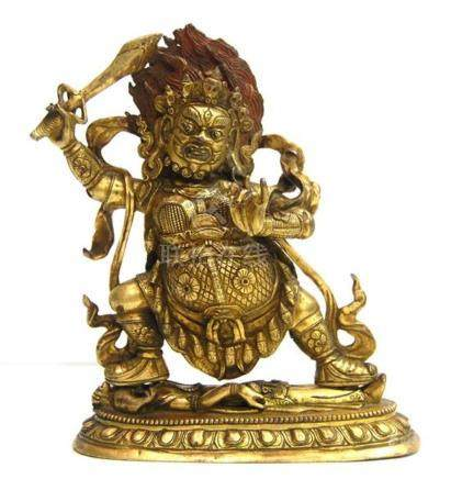 A Gilt Bronze Alloy Mahakala, Wearing Elaborate Jewellery wi