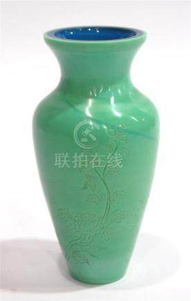 A Celadon Peking Glass Vase with Blue Interior, Engraved wit