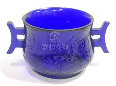 A Sapphire Blue Peking Glass Vessel in Form of Ritual Censer