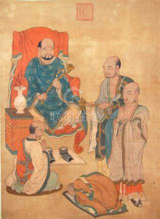 A Chinese Hanging Scroll Ink & Colour on Silk, with Luohan,