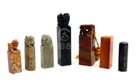 Seven Chinese Stone Seals, Carved with Mythical Beasts, 20th