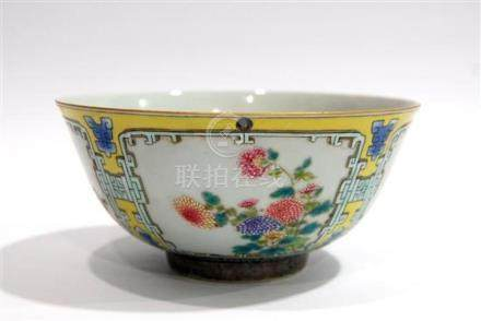 A Fine Porcelain Bowl, Enamelled with Seasonal Flowers withi