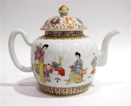 A Fine Chinese Porcelain Teapot, Enamelled with Attendants &