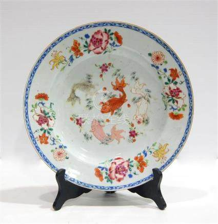 An Enamel Dish the Centre Painted with Gold Fish Swimming in