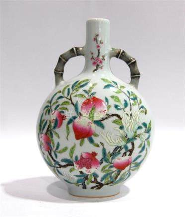 A Moon Flask Vase, Painted with Peach, Pomegranate, & Chrysa