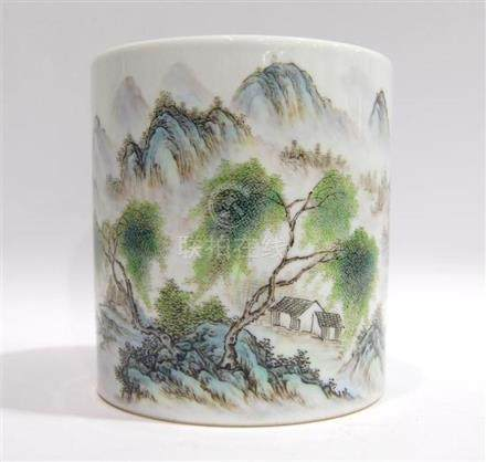 A Cylindrical Brush Pot, Bitong, Signed Xiong Xiaofeng [1914