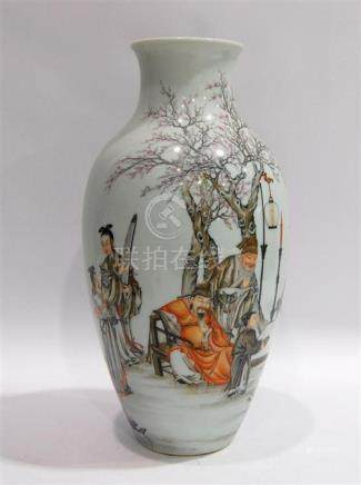 A Chinese Vase Painted in Overglaze Enamel, Qianlong Mark to