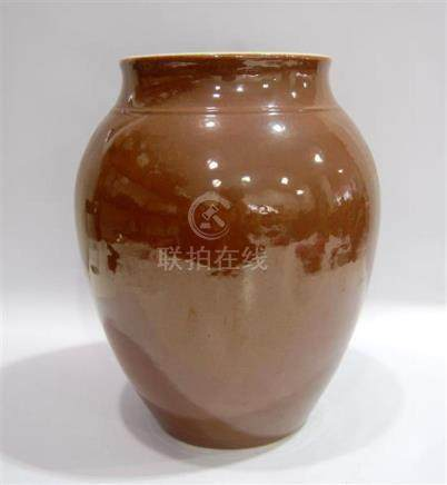 An Ovoid Shaped Porcelain Jar, Applied with a Lustrous Café