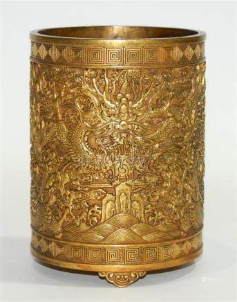 A Chinese Brush Pot, Cast in Gold Bronze Alloy, Finely Detai