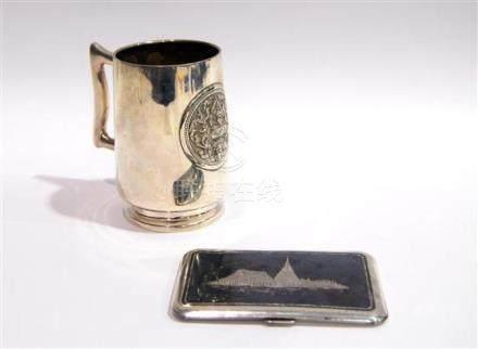 A Silver Beer Mug, & a Silver & Niello Cigarette Case, Thail