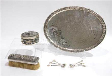 A Burmese Repoussé Silver Brush, a Thai Hand Beaten Silver P