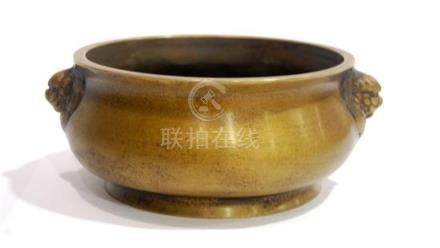 A Bronze Censer with Double Lion Mask Handles, Xuande Mark