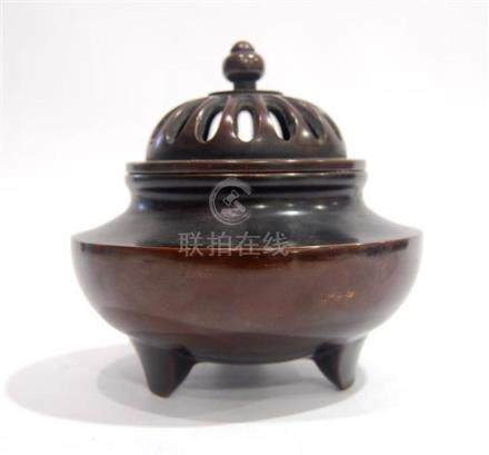 A Chinese Bronze Alloy Incense Burner, Raised on Three Shape