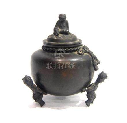 A Dark Bronze Alloy Covered Censer, Bai Feng, Impressed Make