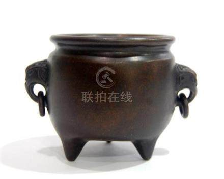 A Bronze Censer with Elephant Head Double Handles, Xuande Ma