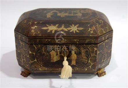 A Chinoiserie Black Lacquer & Gilt Box, the Octagonal Shape