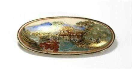 A Japanese Satsuma Porcelain Handpainted Silver Gilt Oval Br