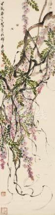 蜜蜂紫藤 立轴 设色纸本