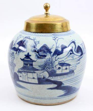 Antique Chinese porcelain ginger jar with copper lid