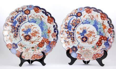2 Antique Imari porcelain dishes with lobed edge, Japan, 19t