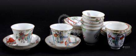 9 Polychromed Chinese porcelain dishes and 9 bowls decorated