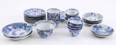Lot comprising diverse Chinese porcelain (17 cups and 18 sau