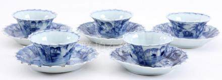 5 Blue / white Chinese porcelain bowls and 5 dishes (defects
