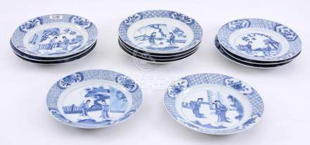 12 Various antique blue/white Chinese porcelain plates with