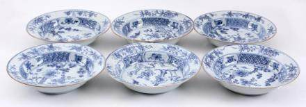 6 Antique blue / white Chinese porcelain plates decorated wi