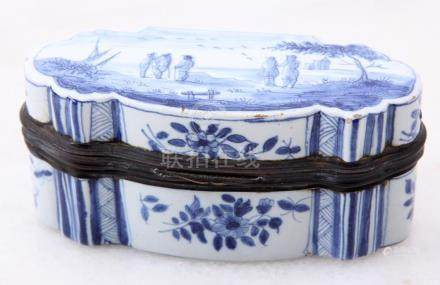 Blue / white painted box with representation of landscape wi