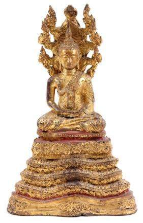 Antique ormolu bronze Buddha, Muchalinda, Ratankosin period,