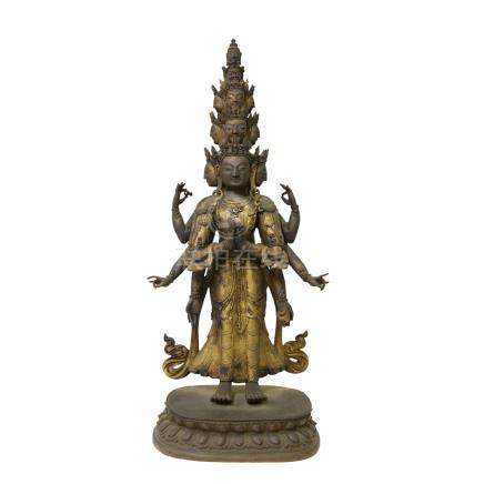 銅鎏金十一面觀音菩薩像