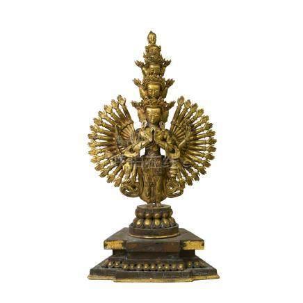 銅鎏金四十二臂觀音菩薩像