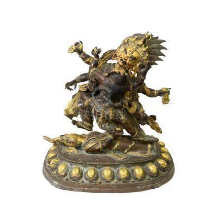 銅鎏金摩訶迦羅雙身像