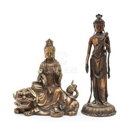 銅鎏金菩薩像 2尊