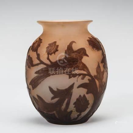 愛彌兒・賈列 鳥與薊花紋花瓶