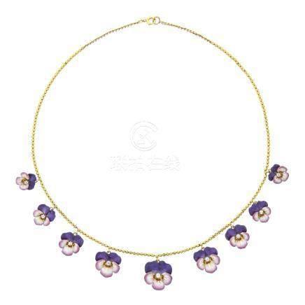 鑽石花型項鍊