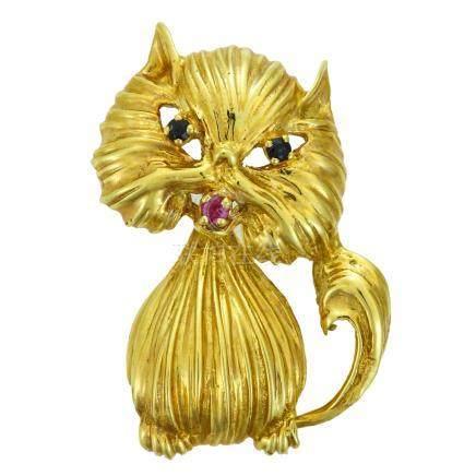 貓黃金胸針