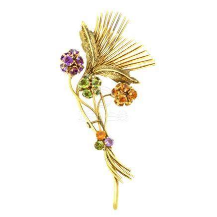 紫水晶 黃水晶 碧璽 花型 黃金胸針