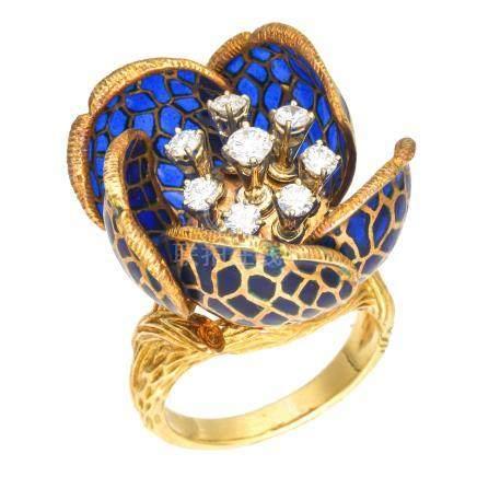 鏤空琺瑯彩 鑽石 花型戒指