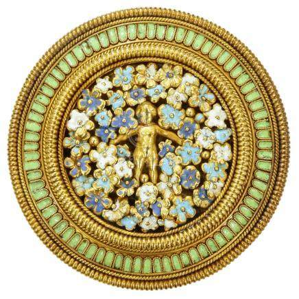 凱斯泰拉尼 琺瑯彩 黃金胸針