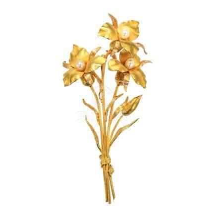 珍珠 花束黃金胸針