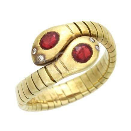紅寶石 鑽石 黃金戒指
