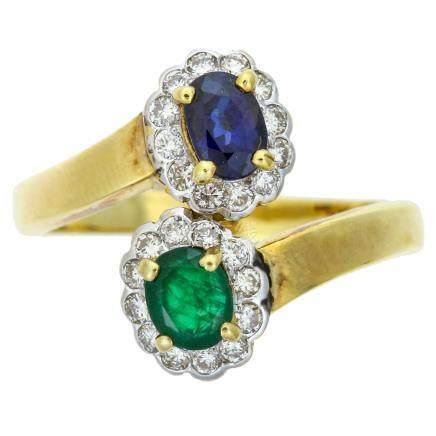 藍寶石 祖母綠 黃金戒指